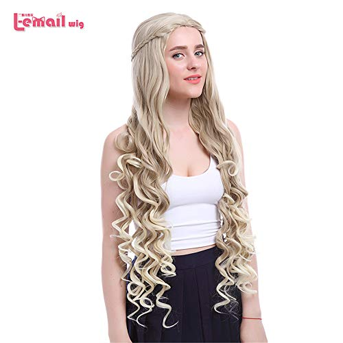 Wig Cosplay Party Costume Soft Synthetic Unisex Game of Thrones Flaxen Loose Wavy Heat Resistant Synthetic Hair Perucas -