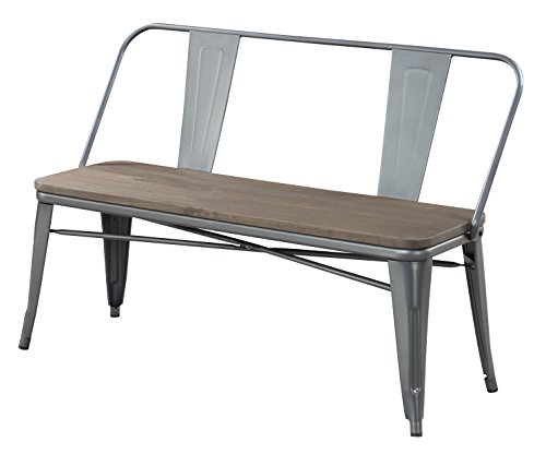 HOMES: Inside + Out IDF-3529GY-BN Trevin Industrial Bench, Gray by HOMES: Inside + Out