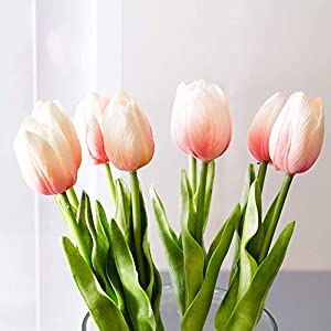 Floral Kingdom Real Touch Artificial Tulips 24' for Floral Arrangements, Bouquets, Home/Office Decor (Pack of 5) 15