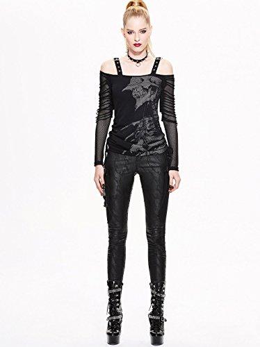 Punk Tops Women Longues Casual Devil Fashion shirt Gothic Tailles Manches 7 Bretelles Stitches Blouse ¨¤ T nE81WU8O