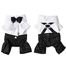 Hot 4 sizes Dog Pet Puppy Clothes Tuxedo Shirt Suit Bow Tie Stylish Wedding Apparel