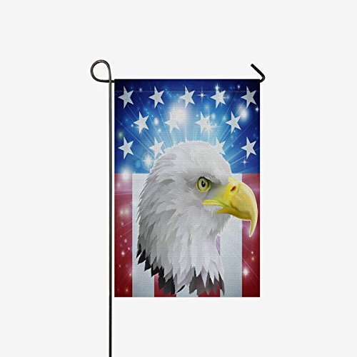 Pingshoes American flag Polyester Garden Flag Outdoor Banner 28 x 40 inch, We the People with Bald Eagle Decorative Large House Flags for Party Yard -