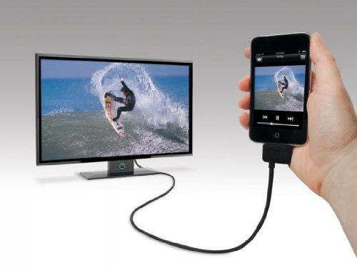 Scosche sneakPEEK 3 x RCA iPhone dock Black mobile phone cable - mobile phone cables