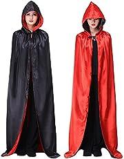 Myir JUN Cape Zwart Rood, Omkeerbaar Cape met Capuchon voor Volwassenen Kind Vampier Cape Halloween (Zwart Rood, XL)