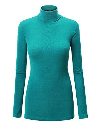 WT950 Womens Long Sleeve Turtleneck Top Pullover Sweater M Jade