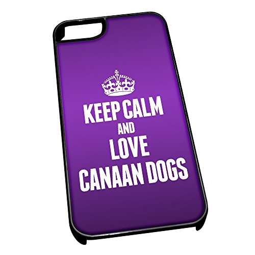 Nero cover per iPhone 5/5S 1992viola Keep Calm and Love Canaan Dogs