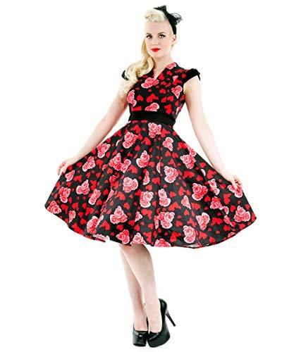 Pin Inglesa Estampado Knee Roses La Up Marca Algodón Vestido Vintage Colorido Hearts En De amp; Con qTIUZZ