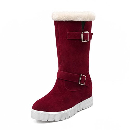 Pull Toe Closed Round Mid Women's Kitten Frosted Heels Top Red Boots AgooLar On wv1OFptqq