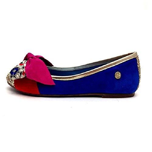 Bailarina azul con lazo y puntera glitter oro Azul