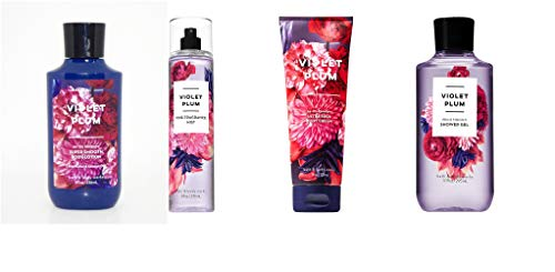 Bath and Body Works New Violet Plum Four Piece Set w Lotion, Cream, Wash, and Mist Full Size ()