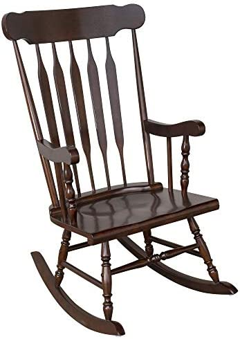 HOMCOM Wooden Baby Nursery Rocking Chair – Dark Brown