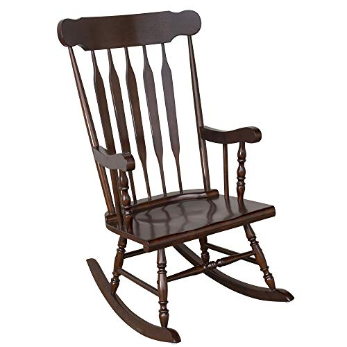 HOMCOM Wooden Baby Nursery Rocking Chair – Dark Brown