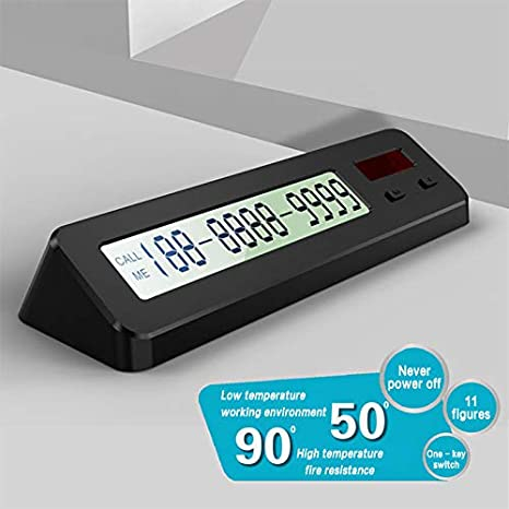 Digital Phone Number Card Luminous Display with Temporary Parking Number Plate vylymuses Car Temporary Parking Phone Number Plate Black