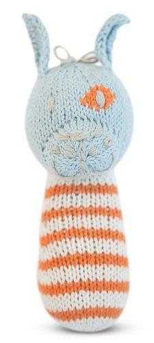 Finn + Emma | Mini Rattle | Baby Boy | Leo the Dog | 100% Organic & Eco-Friendly | Hand Knit & Fair Trade | Made in Peru