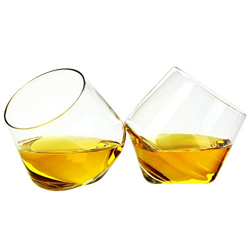 Barbuzzo Rolling Whiskey Glasses (Set of 2) - Hand-Blown Stemless Whiskey Glasses That Roll for Better Aeration - Perfect for a Variety of Spirits, Malts, Highballs and Cocktails - Holds 6.3 Ounces (Tinted Glassware)