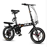 Folding Bikes Bicycle Folding Bicycle Unisex 16 Inch 20 Inch Shift Disc Brakes Sports Portable Bicycle (Color : Black, Size : 16 inch)