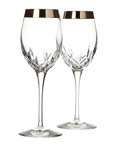 Waterford Lismore Essence Wide Platinum Band Wine Glass Pair by Waterford