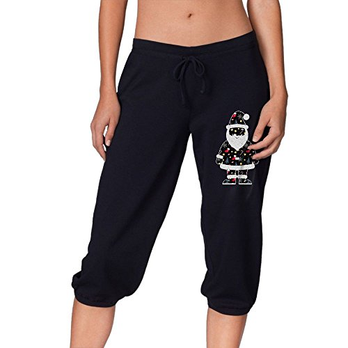 Everlast Jersey Pants - Stunningly Christmas Santa Claus Womens Capri Jersey Pants French Terry Knit Capri Best For Gym Sports!
