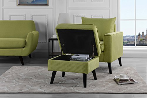 Mid-Century Brush Microfiber Modern Living Room Large Accent Chair with Footrest/Storage Ottoman (Green)