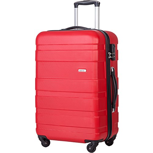 Merax Afuture 20 24 28 inch Luggage Lightweight Spinner Suitcase (20, Red)