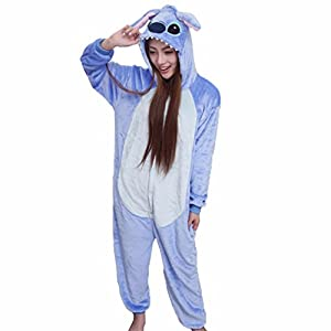 IDGIRL Adults Flannel Romper Panda pajamas Man and Women Costumes Cartoon Sleepwear
