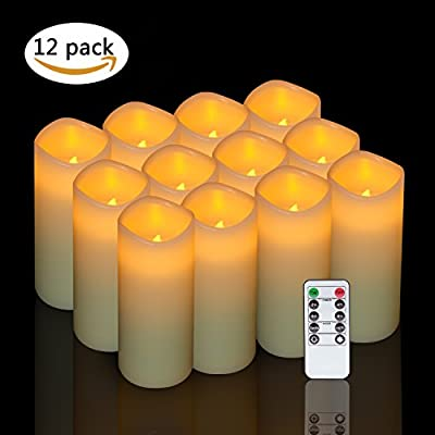 Eldnacele Flameless Candles Flickering Real Wax LED Battery Operated Candles Set of 12(D2.2 X H5) Pillar Candles Ivory Warm Light with Remote Control and Timer for Home and Wedding Decoration