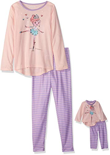 Komar Kids Girls' Big Dream Doll Long Sleeve Jersey Pajama Set, Orchid Stripe, 4