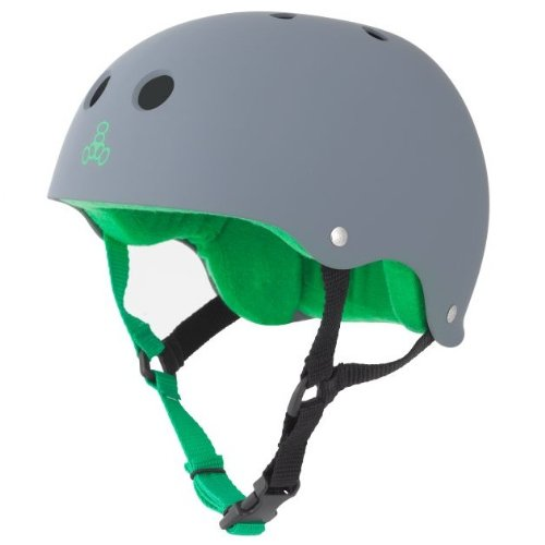 Skateboarding Helmet (Triple Eight Helmet with Sweat Saver Liner, Carbon Rubber, Medium)