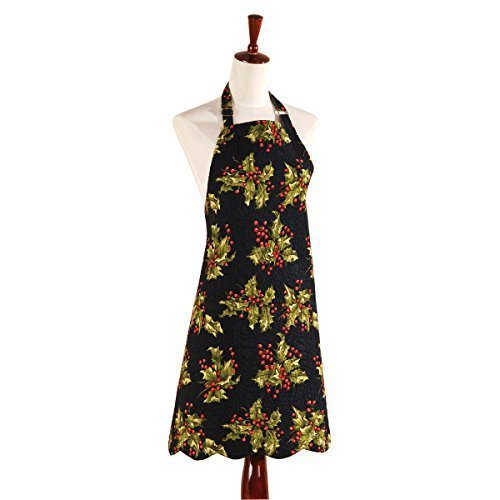 Reversible Quilted Apron, Holly Black by C&F Enterprises