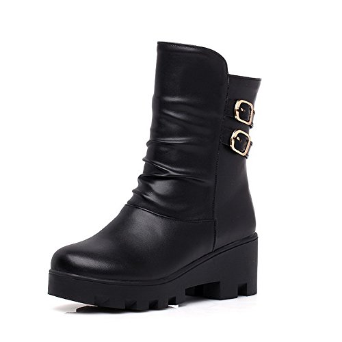 AmoonyFashion Womens Soft Leather Round Closed Toe Kitten Heels Pull On Solid Boots Black