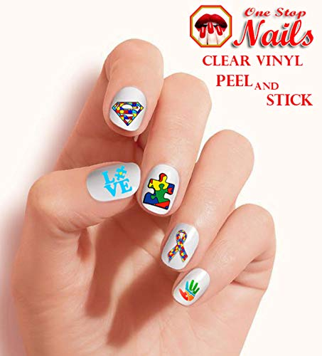 Autism Awareness Clear Vinyl Peel and Stick nail art decals (NOT Waterslide) by One Stop Nails -