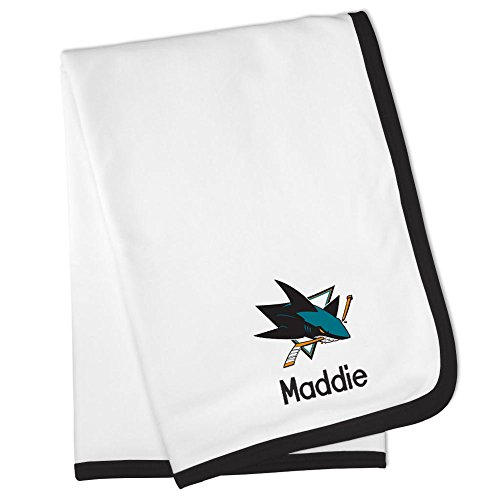 Personalized San Jose Sharks Baby Blanket (Officially Licensed) Ultra Soft, Warm Comfort | Receiving Swaddle for Newborn Boy or Girl | Portable, Stroller Friendly