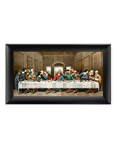 DECORARTS -The Last Supper, Leonardo da Vinci Classic Art Reproductions. Giclee Print& Black Framed Art for Wall Decor. 24x12, Framed Size: 28x16 ()