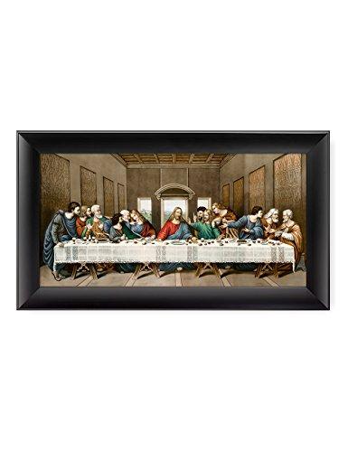 DECORARTS -The Last Supper, Leonardo da Vinci Classic Art Reproductions. Giclee Print& Black Framed Art for Wall Decor. 24x12, Framed Size: 28x16