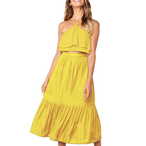 (Women's Elegant Halter Backless Ruffle Crop Top High Waist Maxi Skirt Set 2 Piece Cocktail Party Long Dress Summer Outfit Beach Sundress (X-Large,)