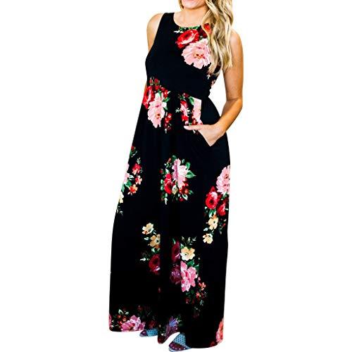 Women Floral Print Sleeveless Loose Maxi Hawaiian Bohemian Dress with Pockets]()