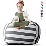 "Creative QT Stuffed Animal Storage Bean Bag Chair - Extra Large Stuff 'n Sit Organization for Kids Toy Storage - Available in a Variety of Sizes and Colors (38"", Grey/White Striped)"