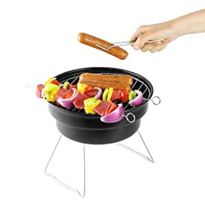 Chromo Inc® Grill & Chill BBQ and Cooler 2-in-1 Roadtrip Tabletop Party Picnic Charcoal Barbecue Grill 10 Inch Diameter with Cooler