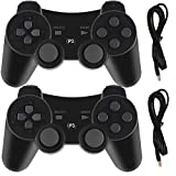 PS3 Controllers for Playstation 3 Dualshock Six-axis, Wireless Bluetooth Remote Gaming Gamepad Joystick Includes USB Cable (Black and Black,Pack of 2)