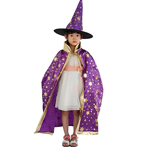 FENZL Childrens' Halloween Costume Wizard Witch Cloak Cape Robe and Hat (Purple)