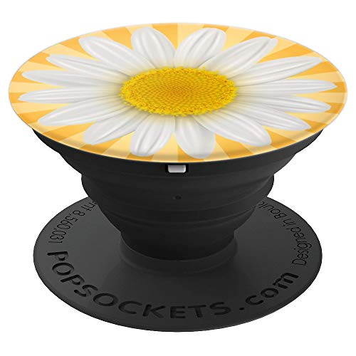 (Cute White Flower Daisy With Yellow Sun Ray Background - PopSockets Grip and Stand for Phones and Tablets)