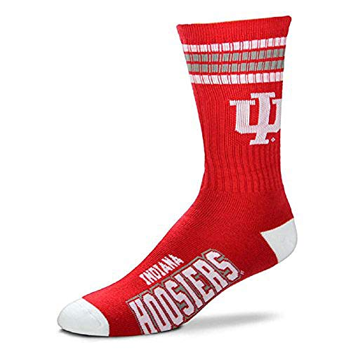 For Bare Feet Mens NCAA 4 Stripe Deuce Crew Socks, Indiana Hoosiers, Large