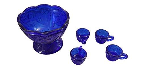 4PC Glass Floral Punch Bowl Set (Blue)