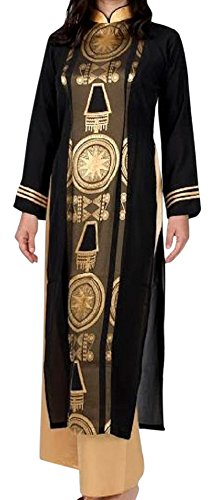 アオザイ ベトナム 民族 衣装 襟付き 長袖 レディース 黒 パーティードレス B078KPYPXT XXXXXXL|ゴールド ゴールド XXXXXXL