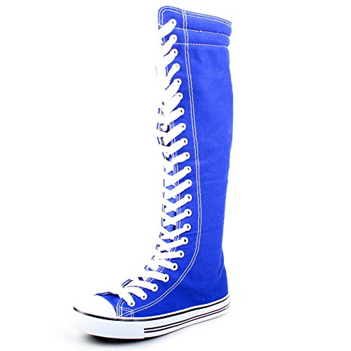 e9b2ed8cbf7a West Blvd Women s Tall Canvas Lace Up Knee High Sneakers Blue 10 - Buy  Online in UAE.