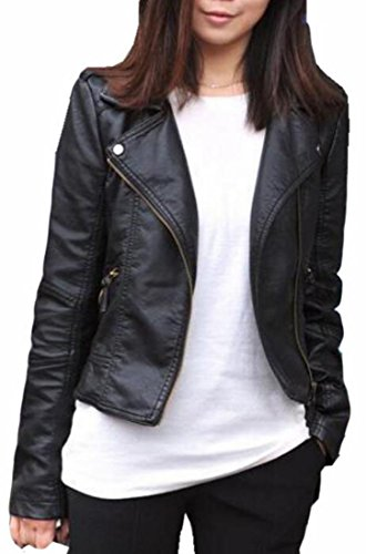 Generic Women's Plus Size Slim Lapel Faux Leather Zipper Jacket Coat Black XXL