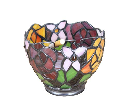 Stained Glass Tiffany Art Outdoors Indoors Ashtray, Colorful Glass Ash Holder Case with 2 Grooves, Home Office Tabletop Beautiful Sun Catcher Decoration Craft (02) - Glass Stained Art Tray