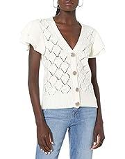 The Drop Women's Emma Ruffle Shoulder Sleeve Cardigan Sweater
