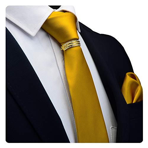 GUSLESON Brand Mens gold Solid Casual Wedding Ties Neckties and Pocket Square Collar Clips Sets - Necktie Accessories