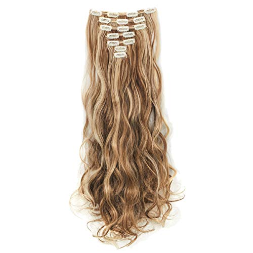 3-5 Days Delivery 7Pcs 16 Clips 24 Inch Wavy Curly Clip in on Double Weft Hair Extensions